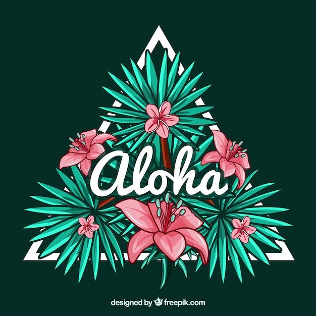 Fond décoratif triangulaire avec des fleurs hawaïennes et le mot