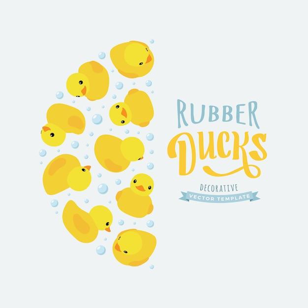 Fond de décoration fait de canards en caoutchouc jaune Vecteur Premium