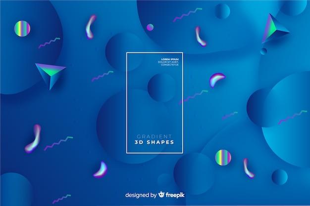 Fond de dégradé de formes 3d Vecteur gratuit