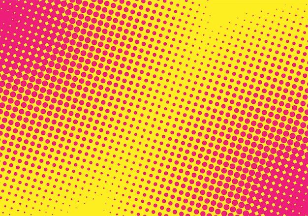 Fond de demi-teinte dégradé jaune-rose. style pop art. Vecteur Premium