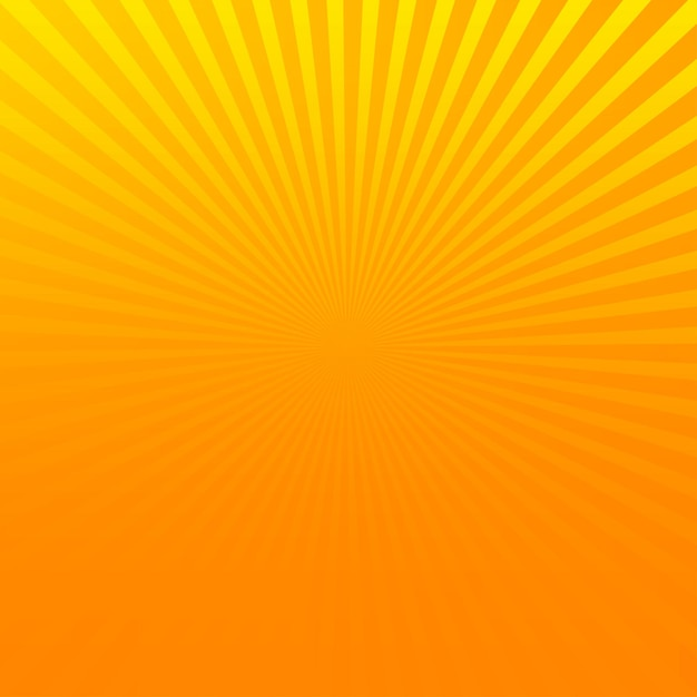 Fond De Demi-teintes Pop Art Comique Orange Avec Des Rayons De Soleil Jaunes. Vecteur Premium