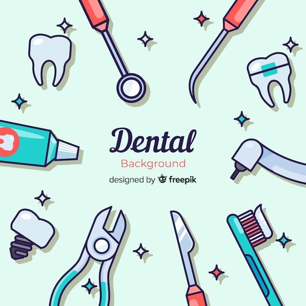 Fond De Dentiste Plat Vecteur Premium