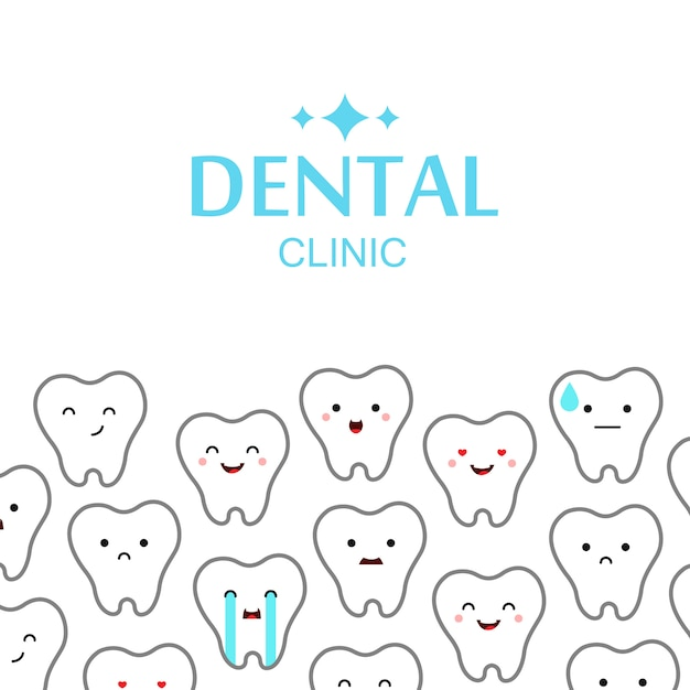 Fond de dents de clinique dentaire. Vecteur gratuit