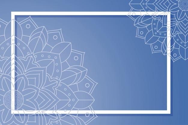 Fond avec design mandala et cadre Vecteur gratuit