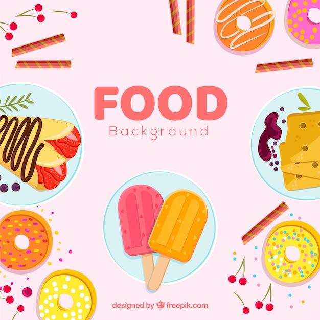 Fond avec des desserts Vecteur gratuit