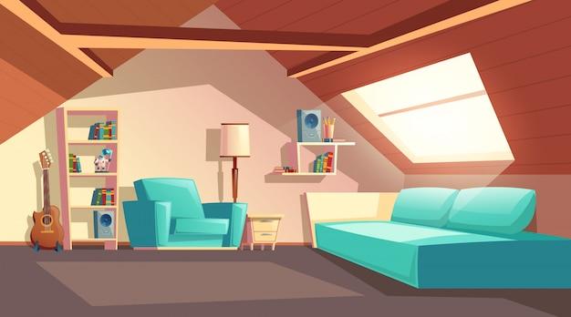Fond de dessin animé avec salle vide, mezzanine moderne sous un toit ...
