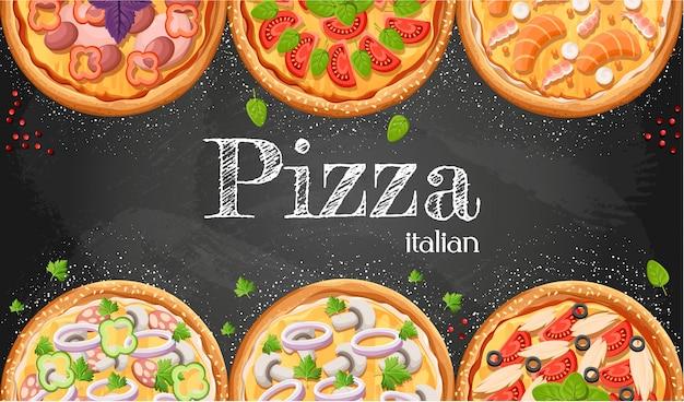 Fond De Dessin Animé De Tableau De Menu Pizza Avec Illustration D'ingrédients Frais Fond De Flyer De Pizzeria. Deux Bannières Horizontales Avec Texte D'ingrédients Sur Fond En Bois Et Tableau Noir. Vecteur Premium