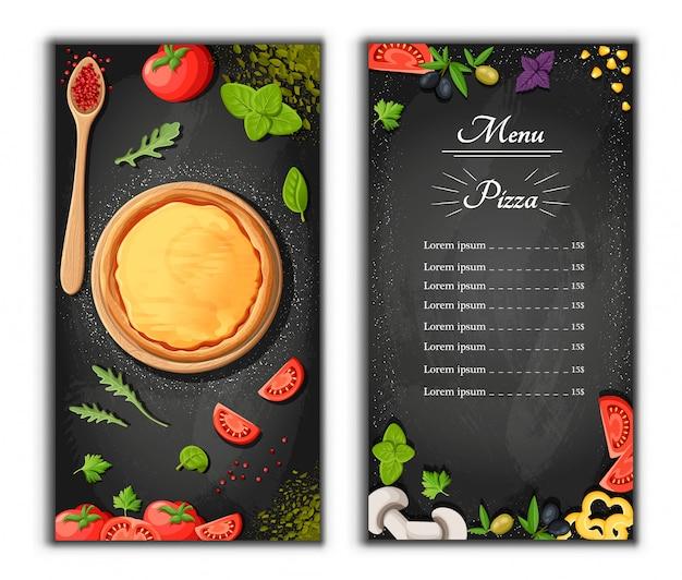 Fond De Dessin Animé De Tableau De Menu Pizza Avec Illustration D'ingrédients Frais Fond De Flyer De Pizzeria. Deux Bannières Verticales Avec Texte D'ingrédients Sur Fond En Bois Et Tableau Noir. Vecteur Premium