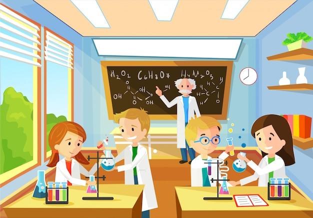 Fond de dessin animé de vecteur avec classe de chimie Vecteur Premium