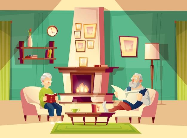 Fond De Dessin Anime Avec Le Vieil Homme Et La Femme Qui Sont Assis