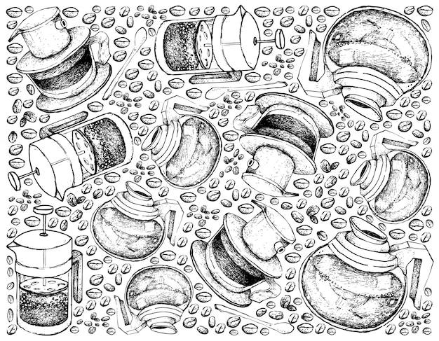 Fond dessiné à la main de la cafetière avec grains de café Vecteur Premium