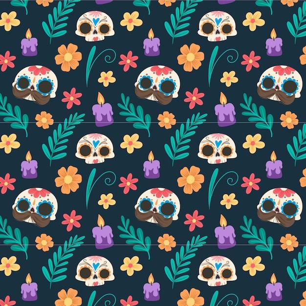 Fond De Día De Muertos Au Design Plat Vecteur gratuit