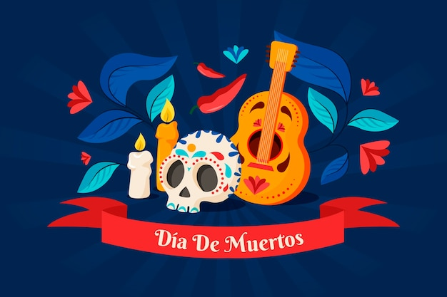 Fond De Dia De Muertos Design Plat Vecteur gratuit