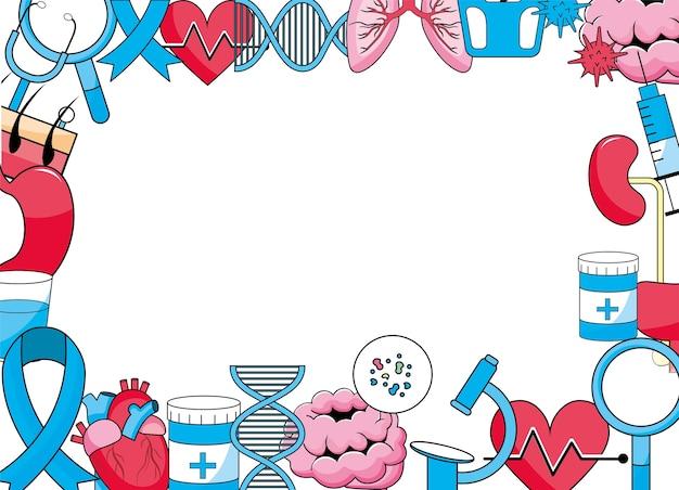 Fond de diagnostic de traitement médical de santé Vecteur Premium