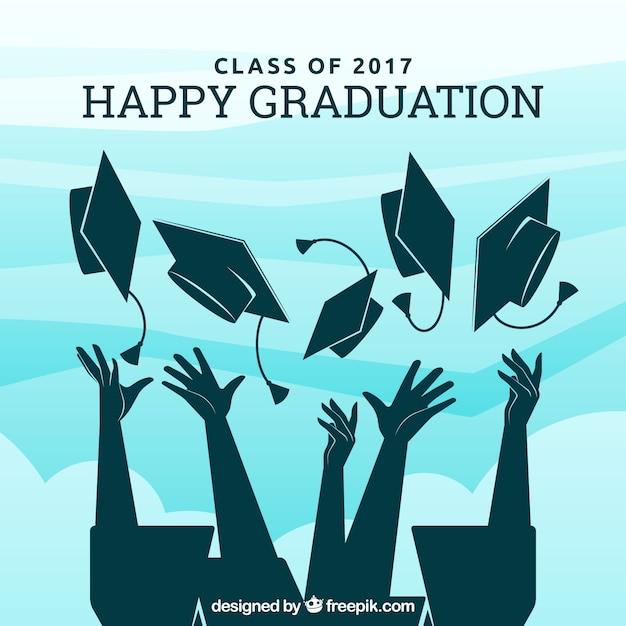 Fond de diplôme avec des silhouettes diplômées Vecteur gratuit