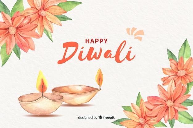 Fond de diwali à l'aquarelle Vecteur gratuit