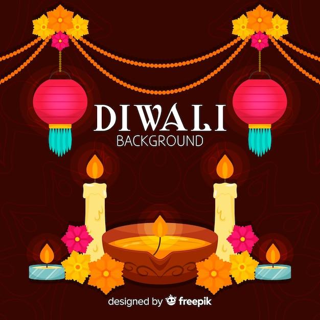 Fond de diwali coloré avec un design plat Vecteur gratuit