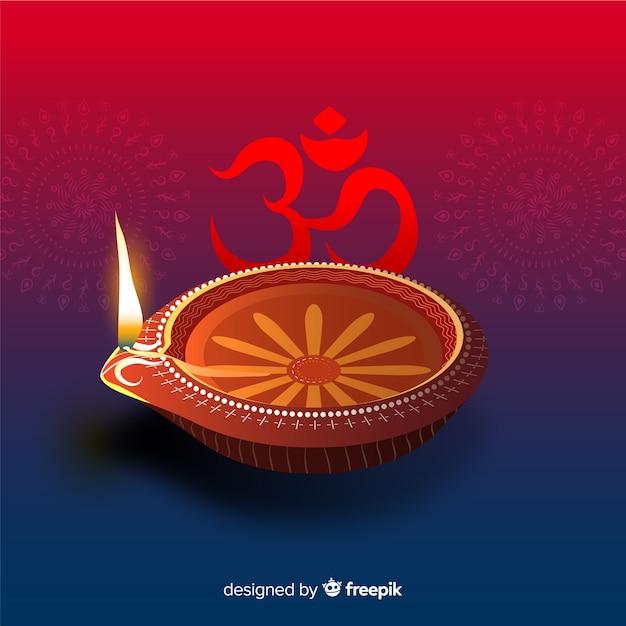 Fond de diwali coloré avec un design réaliste Vecteur gratuit