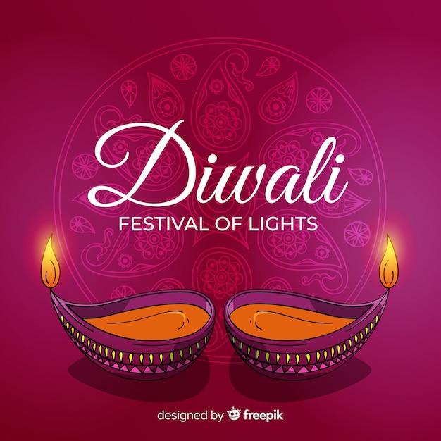 Fond de diwali dessiné à la main belle Vecteur gratuit