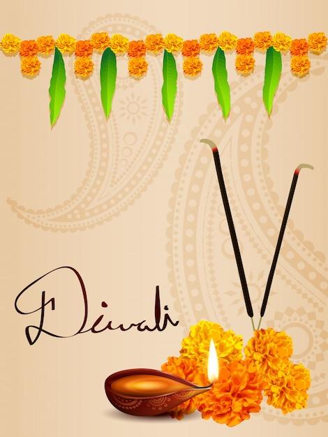 Fond de diwali diya avec des fleurs et des feuilles Vecteur Premium