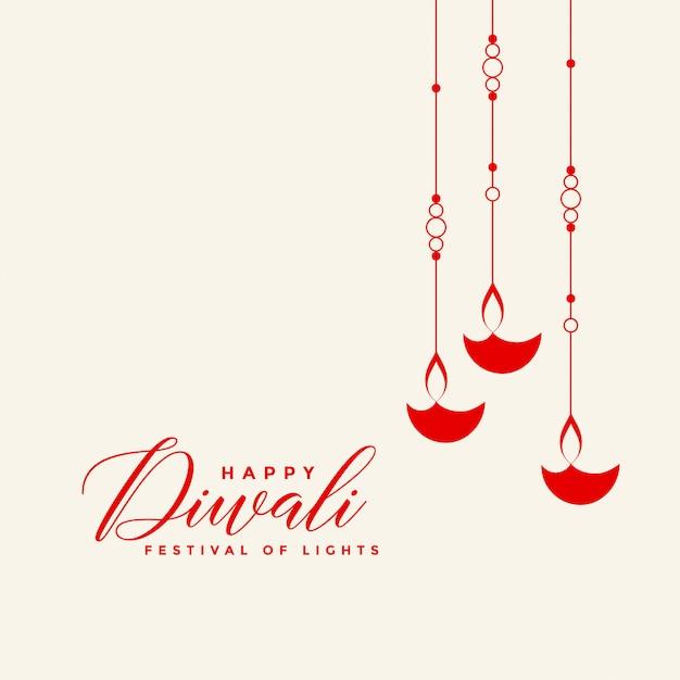 Fond de diwali diya suspendu rouge impressionnant Vecteur gratuit
