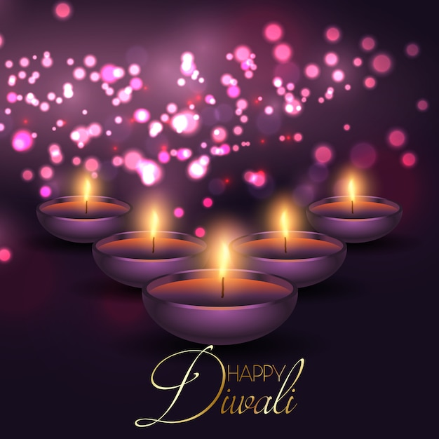 Fond de diwali avec des lampes sur un fond de lumières bokeh Vecteur gratuit