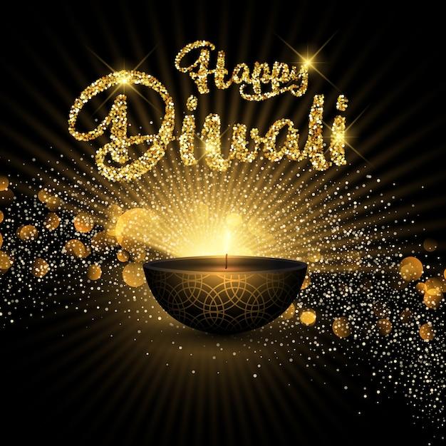 Fond de diwali pailleté Vecteur gratuit