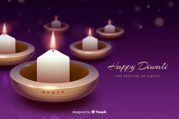 Fond de diwali réaliste avec des bougies Vecteur gratuit