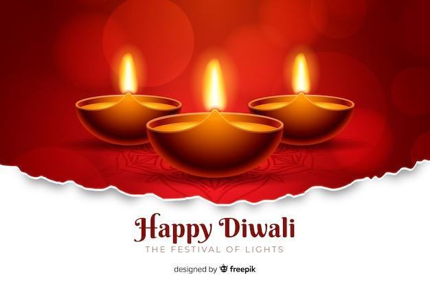 Fond de diwali rouge réaliste Vecteur gratuit