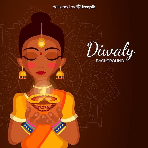 Fond de diwali traditionnel avec un design plat Vecteur gratuit