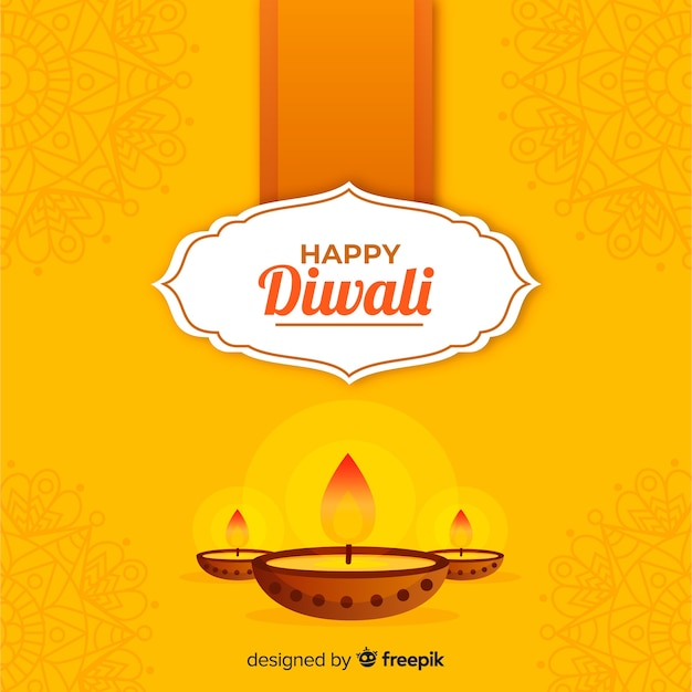 Fond de diwali traditionnel avec un design plat Vecteur gratuit