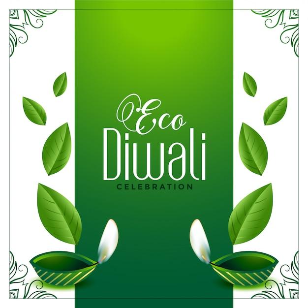 Fond de diwali vert amical avec des feuilles Vecteur gratuit