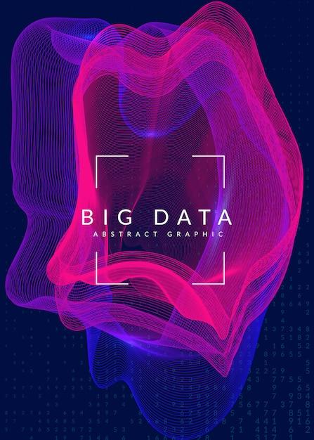 Fond de données volumineuses. technologie de visualisation, artificielle en Vecteur Premium