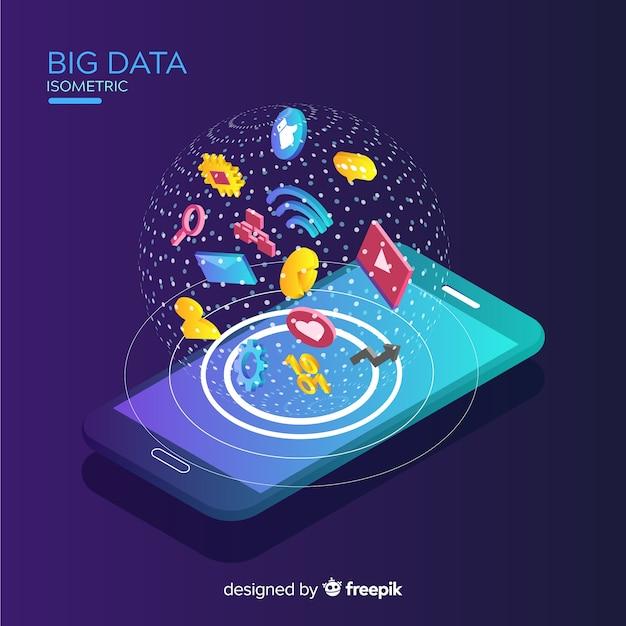 Fond de données volumineuses de téléphone isométrique Vecteur gratuit
