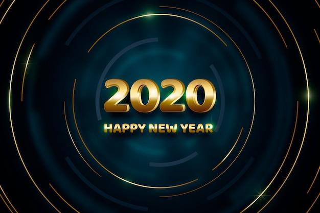 Fond doré du nouvel an 2020 Vecteur gratuit