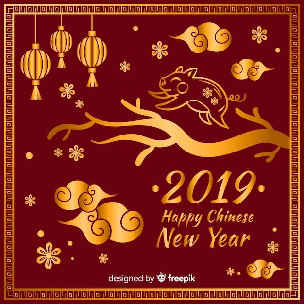 Fond doré du nouvel an chinois Vecteur gratuit