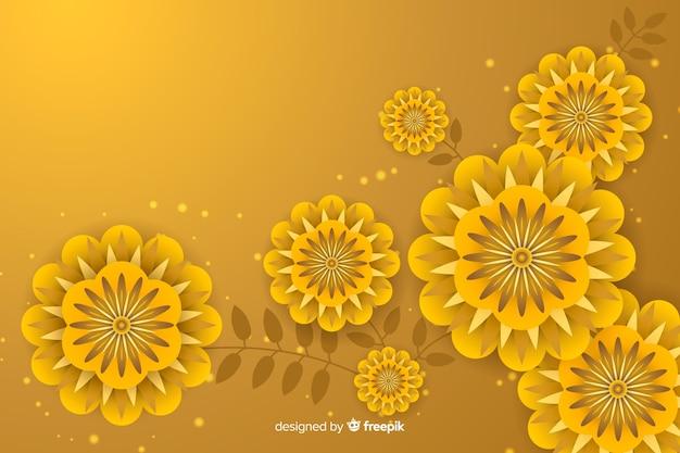 Fond doré avec des fleurs 3d Vecteur gratuit