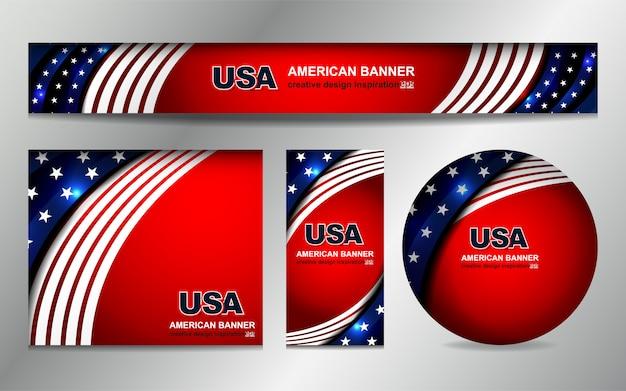 Fond de drapeau américain pour le jour de l'indépendance Vecteur Premium