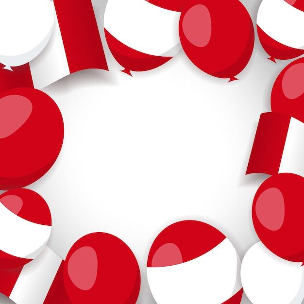 Fond Avec Drapeau Péruvien Et Ballons. Vecteur Premium