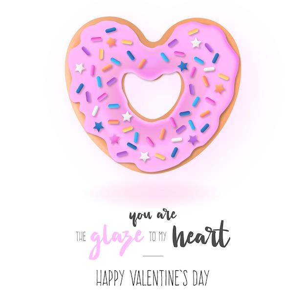 Fond drôle avec donut d'amour et message Vecteur gratuit