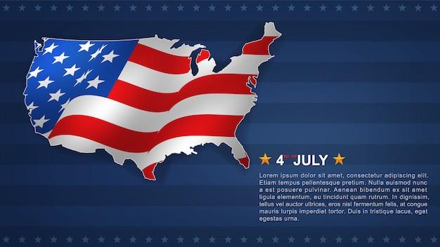 Fond du 4 juillet pour le jour de l'indépendance des états-unis d'amérique (usa) avec la carte des états-unis. Vecteur Premium