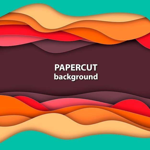 Fond avec du papier orange, rouge et vert coupé Vecteur Premium