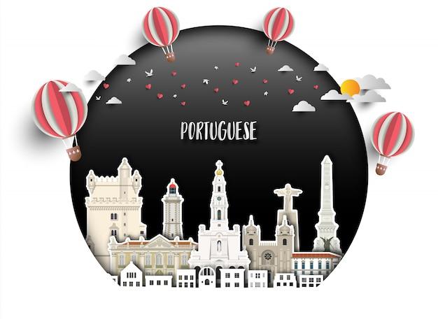 Fond du portugal Vecteur Premium