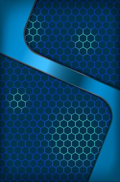 Fond D'écran Abstrait Hexagone Métallique Bleu Innovation Concept D'entreprise Vecteur Premium