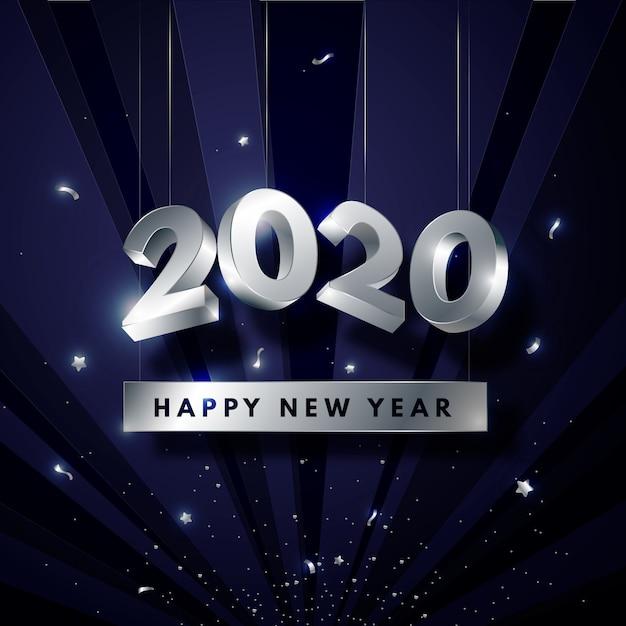 Fond d'écran argent nouvel an 2020 Vecteur gratuit