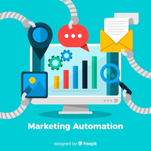 Fond d'écran automatisation marketing Vecteur gratuit
