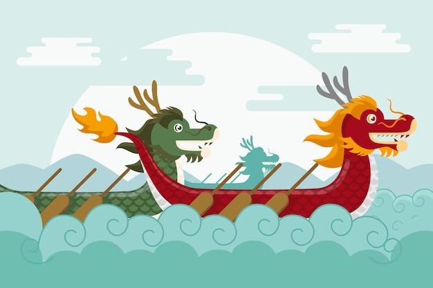 Fond D Ecran Avec Bateau Dragon Vecteur Gratuite
