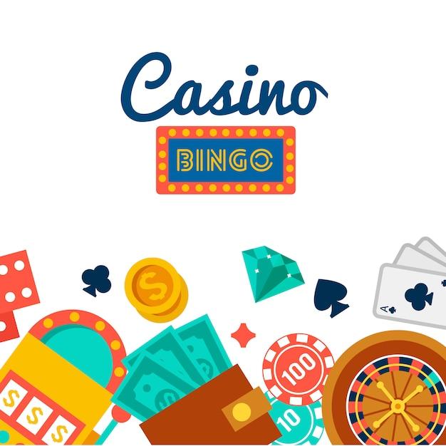 Fond d'écran de casino avec des éléments de poker Vecteur gratuit