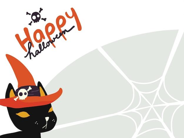 Fond d'écran d'un chat noir portant un chapeau de sorcière avec «happy halloween» sur une toile d'araignée Vecteur Premium
