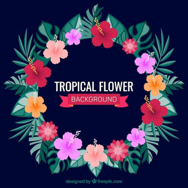 Fond D'écran De Couronnes Florales Tropicales Vecteur gratuit